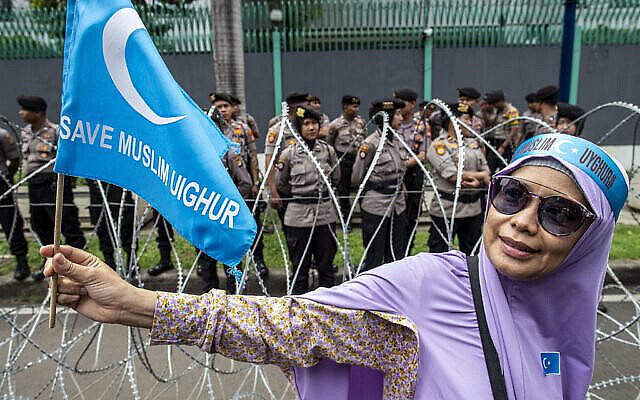 Thousands of Muslims held a rally in front of the China Embassy-Jakarta in Indonesia last year, protesting the treatment of Uyghurs. (Credit Image: © Donal Husni/ZUMA Wire via Jewish News)
