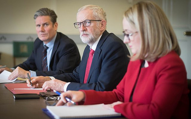Sir Keir Starmer (left) alongside then Labour leader Jeremy Corbyn (centre), and Rebecca Long-Bailey (Jewish News)