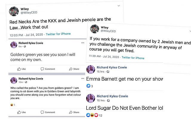 Screenshots of grime artist Wiley's antisemitic tweets (credit: Jewish News)