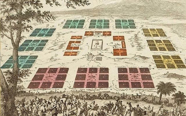 The order of the Israelite camp in the wilderness. (Jan Luyken,1700 Amsterdam Museum cc 1.0, public domain)