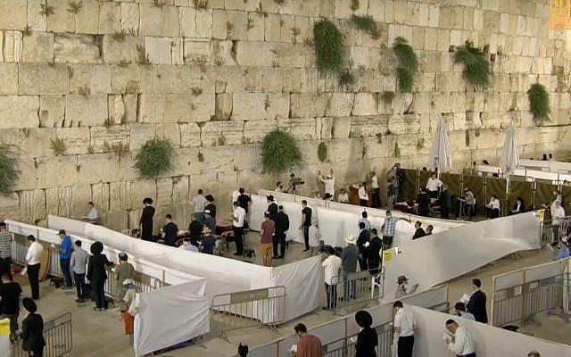 Tisha B'Av at the Western Wall, Jerusalem, June 29, 2020. (Screenshot)