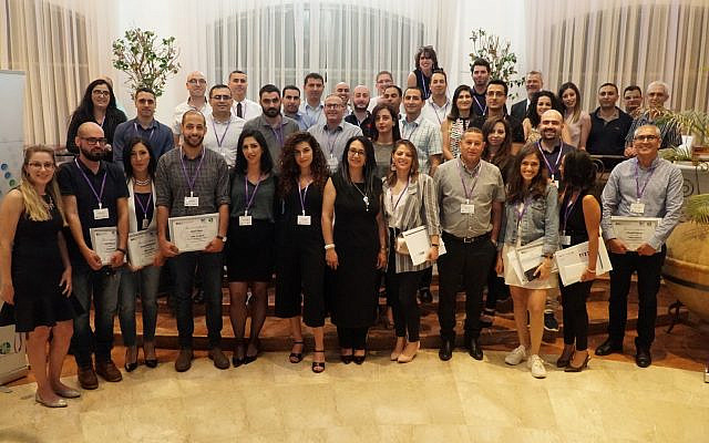 Graduating ceremony for Kav Mahve's Lead Forward program carried out in partnership with Tel Aviv University. Graduates like Mona Hadad, featured in the middle, is a self-taught expert in digital marketing, who regularly speaks to aspiring Arab professionals about how to advance in their career. Spring, 2019.