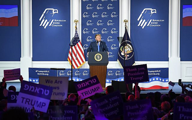 President Donald Trump speaks during the Republican Jewish Coalition's annual leadership meeting at The Venetian Las Vegas, April 6, 2019. (Ethan Miller/Getty Images)