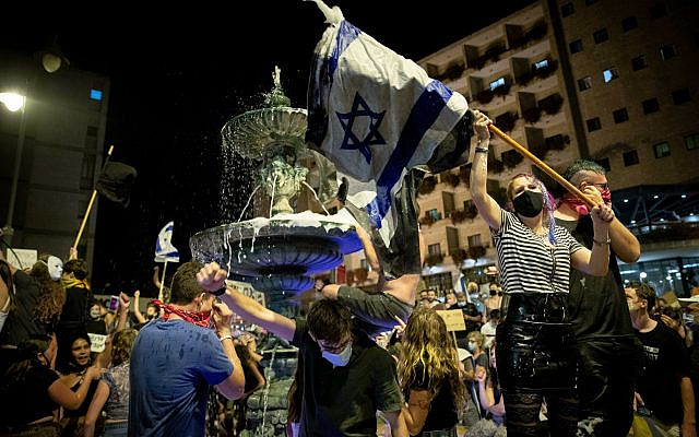 Israelis protest against Israeli prime minister Benjamin Netanyahu outside Prime Minister Netanyahu's official residence in Jerusalem on August 01, 2020. Photo by: JINIPIX via Jewish News