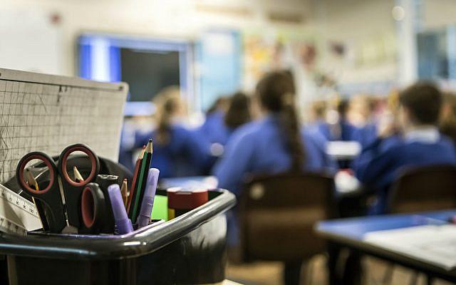 School children in a classroom. (Photo credit: Danny Lawson/PA Wire via Jewish News)