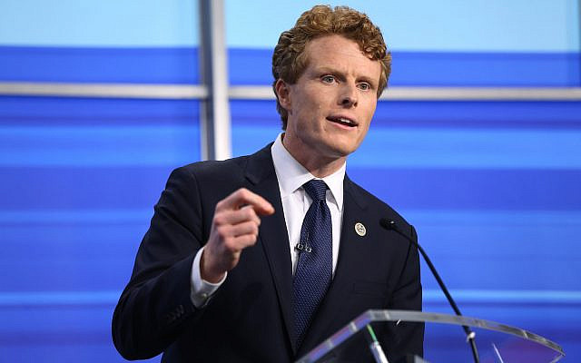 Rep. Joe Kennedy III speaks during a televised debate with Sen. Edward Markey in East Providence, R.I., Monday, June 8, 2020. Markey and his Democratic primary challenger Kennedy sharpened their elbows as they faced off for a televised debate Monday evening. (Jessica Bradley/WPRI-TV via AP)