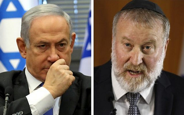 Prime Minister Benjamin Netanyahu at the Knesset on November 20, 2019 (left), Attorney General Avichai Mandelblit addresses the press in Jerusalem on November 21, 2019. (Gali Tibon, Menahem Kahana / AFP)