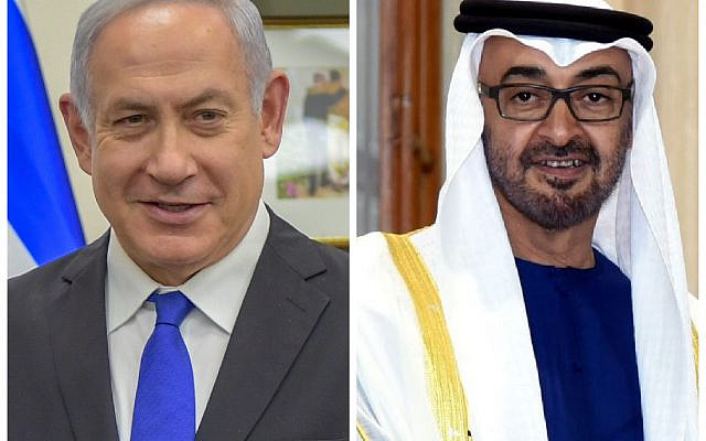 Benjamin Netanyahu and the U.A.E.'s Prince Mohammed Al Nahyan. (Wikipedia/Author US Department of State and Prime Minister's Office (GODL-India)) via Jewish News