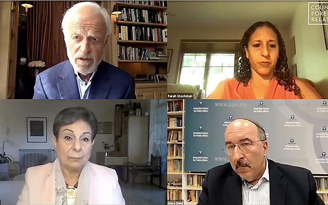 Clockwise, from upper left: Martin S. Indyk, former US ambassador to Israel; moderator Farah Stockman of the New York Times; Dore Gold, Israel's former envoy to the UN; and Hanan Ashrawi, chief spokeswoman for the PLO, participate in a July 29 dialogue on Israel's annexation plans. (Larry Luxner)