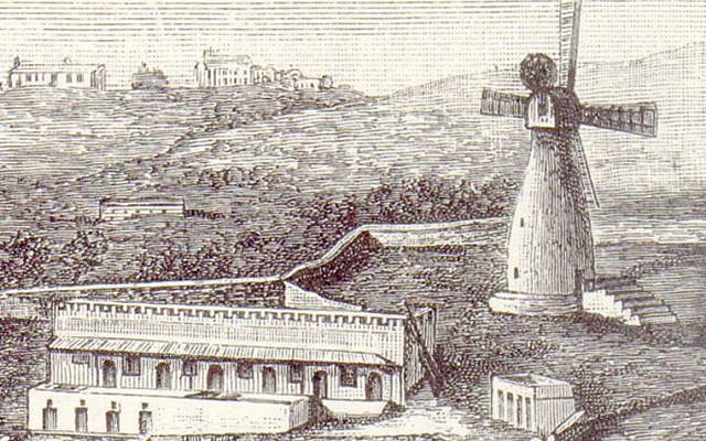 Etching from the diary of Sir Moses and Lady Montefiore of Windmill and Alms Houses (Jerusalem Foundation)