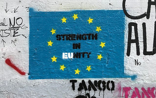 The EU flag painted at the West Bank wall in Bethlehem. Photo by the author.
