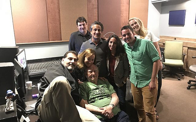 Team after the recording session with Ed Asner (Narrator). Lisa Effress (Producer) in center. (courtesy)