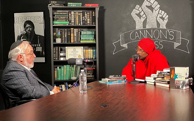 Rabbi Abraham Cooper (left) and Nick Cannon during a conversation on July 16, 2020, in Burbank, California. (Rabbi Abraham Cooper via AP / via TOI)