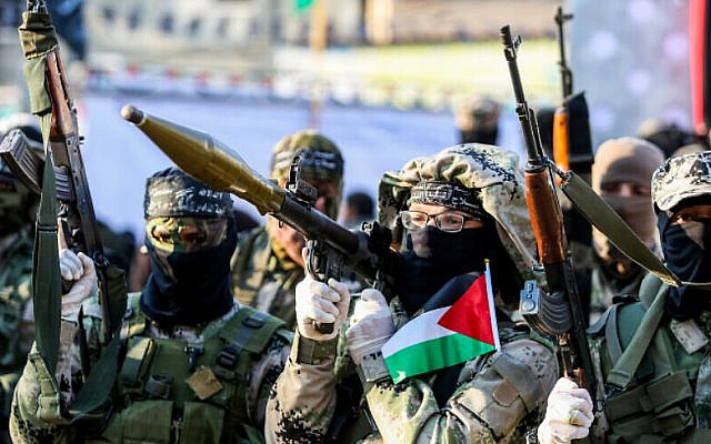 Palestinian militants of the Al-Nasser Salah al-Deen Brigades take part in an anti-Israel rally in Khan Younis, in the southern Gaza Strip, on February 17, 2020. Photo Abed Rahim Khatib/Flash90  *** Local Caption *** ????