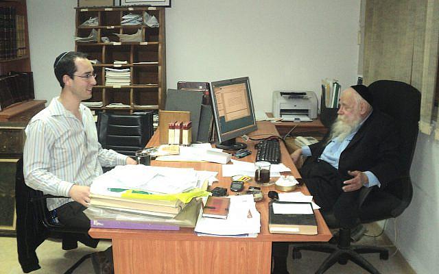 Nathan Jeffay (left) interviews Rabbi Adin Steinsaltz in his Jerusalem office, March 2011. (Via Nathan Jeffay)