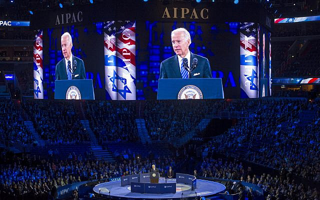 Then-vice president Joe Biden addresses the AIPAC 2016 Policy Conference in Washington, DC, March 20, 2016. (AP/Cliff Owen)