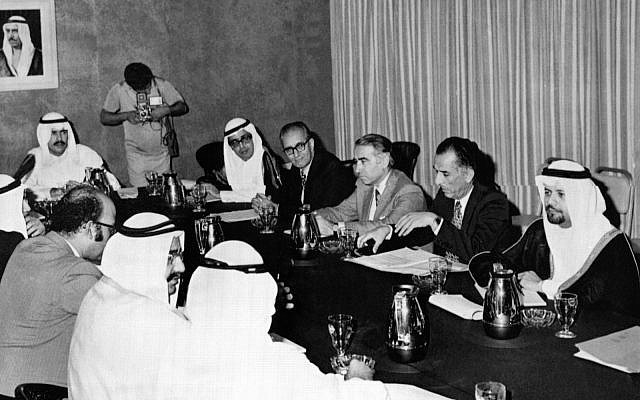 In this Nov. 3, 1973 file photo, a subcommittee of six Organization of Petroleum Exporting Countries (OPEC) meet in Kuwait to study the prices of oil. The meeting comprises of Oil Ministers from Kuwait, Saudi Arabia, Iraq, Iran, Abu Dhabi and QatarE.(AP Photo, File)