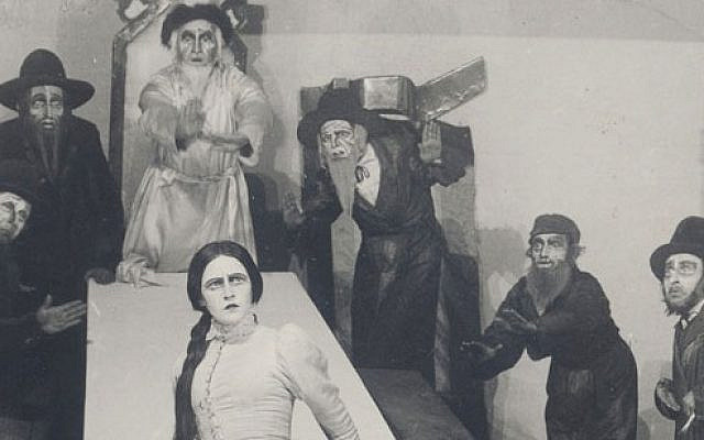 The Hebrew-language premiere of The Dybbuk, with Hanna Rovina as Leah, at  Habima Theater, Moscow, January 31, 1922. (Wikipedia)