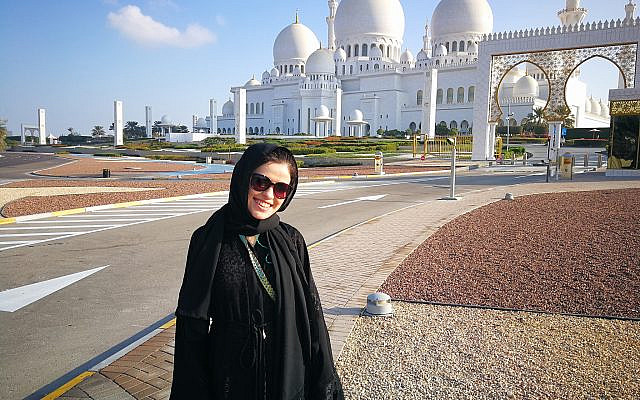 The author in front of The Sheikh Zayed Grand Mosque in Abu Dhabi