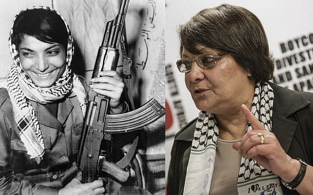 Left: Layla Khaled, one of two hijackers of an American T.W.A. jetliner in Damascus 8/29, smiles after returning to her guerrilla base in Jordan. October 17, 1969.(Getty Images)Right: Khaled speaks at the O.R. Tambo international Airport, on February 6, 2015, in Johannesburg. (Gianluigi Guercia/AFP via Getty Images)