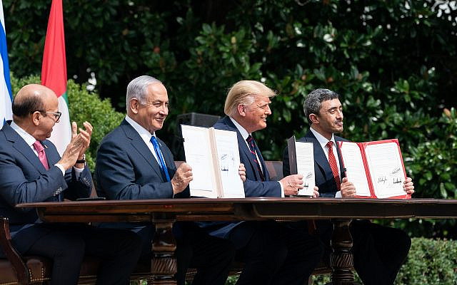 Two Arab states, Bahrain and the United Arab Emirates, have normalized diplomatic relations with Israel in less than a month. (The White House from Washington, DC / Public domain)