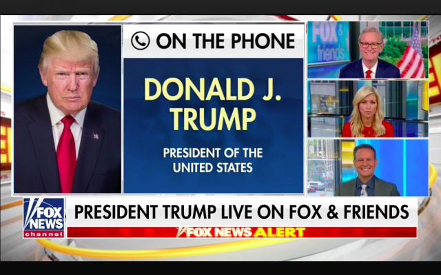 Screen grab from the Fox & Friends morning news show. US President Donald Trump interviewed by phone about the death of Justice Ruth Bader Ginsburg. Sept. 21, 2020