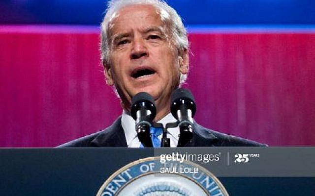US Vice President Joe Biden speaks at the American Israel Public Affairs Committee�s (AIPAC) annual policy conference at the Walter E. Washington Convention Center in Washington, DC, May 5, 2009. AFP PHOTO / Saul LOEB (Photo credit should read SAUL LOEB/AFP via Getty Images)