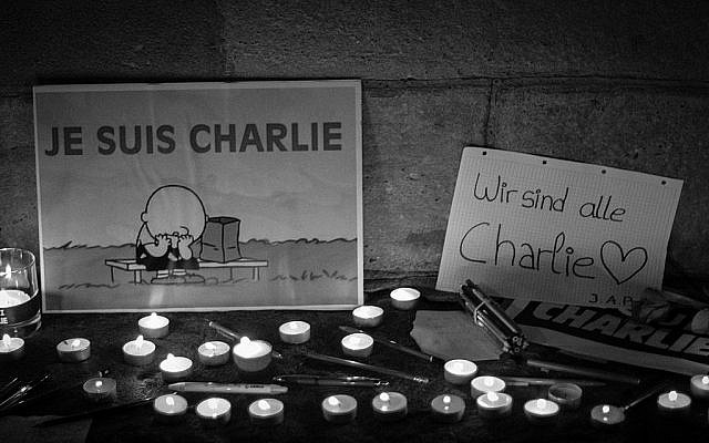 Toulouse, January 8, 2015: signs say 'I am Charlie' in French, and 'We are all Charlie' in German (Wikipedia image).