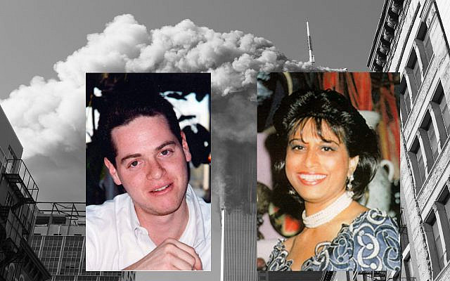 Photomontage: Foreground: Shai Levinhar on left and Alona Avraham, both killed in the 9/11 attacks. (Photos courtesy of familiy); Background: The twin towers of the World Trade Center burn September 11, 2001, after hijacked planes crashed into them in New York as part of a plot by al-Qaeda leader Osama bin Laden. (AP Photo/Diane Bondareff, File)