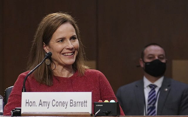 Supreme Court nominee Amy Coney Barrett speaks during a confirmation hearing before the Senate Judiciary Committee, October 13, 2020, on Capitol Hill in Washington. (Sarah Silbiger/ Pool via AP)