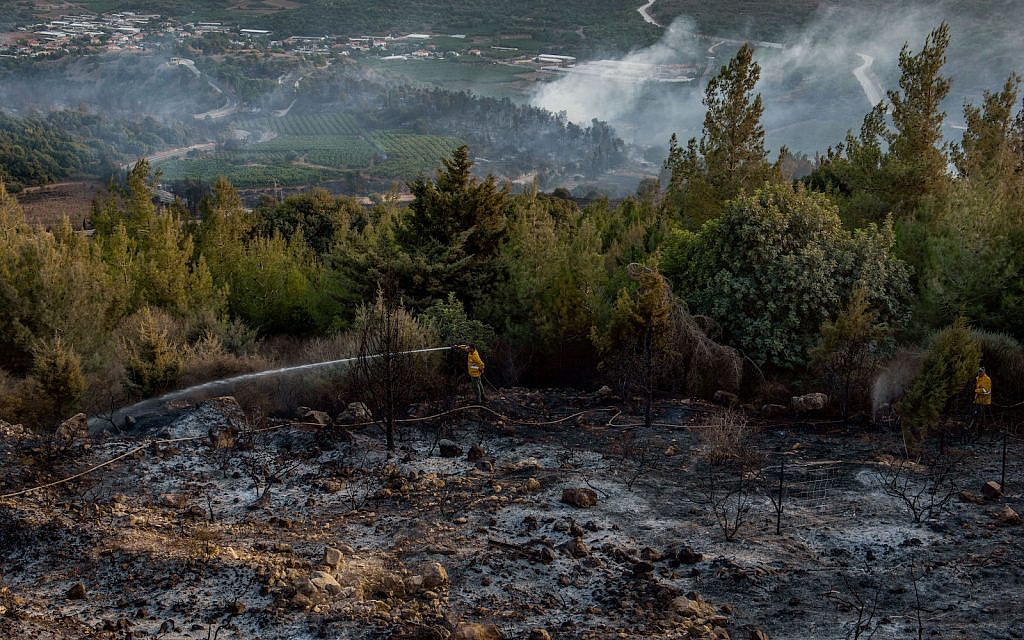 The scene where a fire broke out near Misgav Am, northern Israel. October 9, 2020. (Basel Awidat/Flash90)