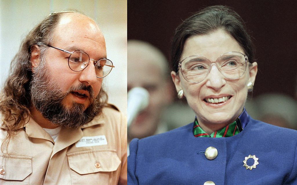 LEFT: Jonathan Pollard speaks during an interview, Friday, May 15, 1998, at the Federal Correction Institution in Butner, N.C. (AP Photo/ Karl DeBlaker) RIGHT: Supreme Court nominee Judge Ruth Bader Ginsburg prepares to testify in her confIrmation hearing at Capitol Hill on Tuesday, July 20, 1993 in Washington before the Judiciary Committee.(AP Photo/Doug Mills)