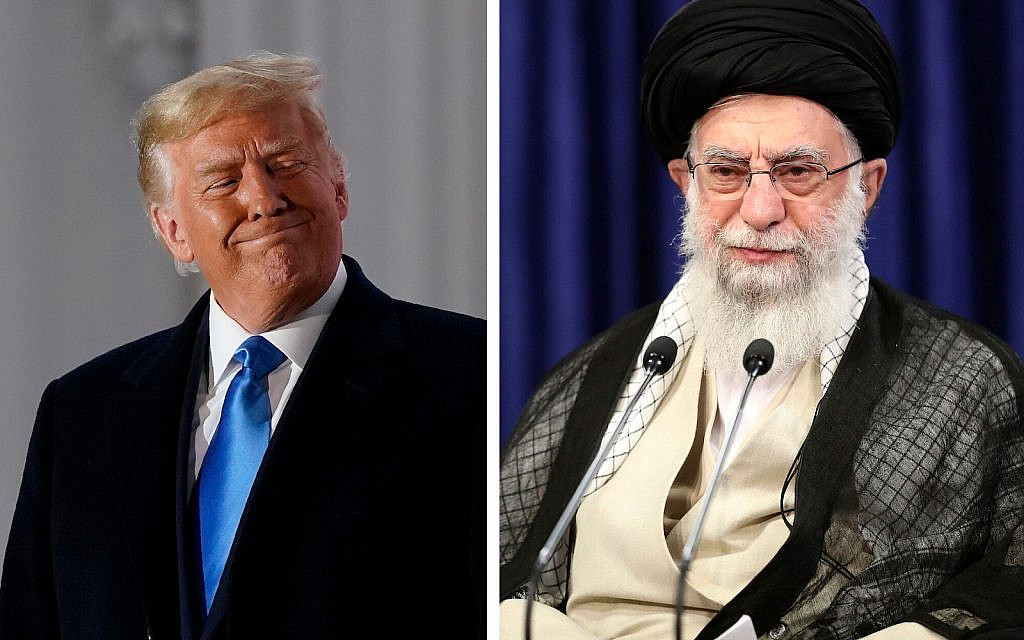 "LEFT: President Donald Trump during the swearing in ceremy of Amy Coney Barrett as Supreme Court justice. Washington, Monday, Oct. 26, 2020. (AP Photo / Patrick Semansky) RIGHT: Iran's Supreme Leader Ayatollah Ali Khamenei speaks during a video conference with education ministry officials, in Tehran, Iran, Tuesday, Sept. 1, 2020. Iran's supreme leader called the United Arab Emirates' recognition of Israel ""treason that will not last for long."" (Office of the Iranian Supreme Leader via AP)"