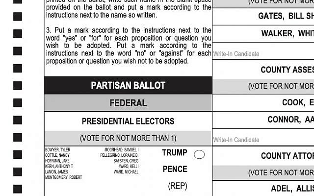 Part of my own mail-in ballot for the US election. (Courtesy)