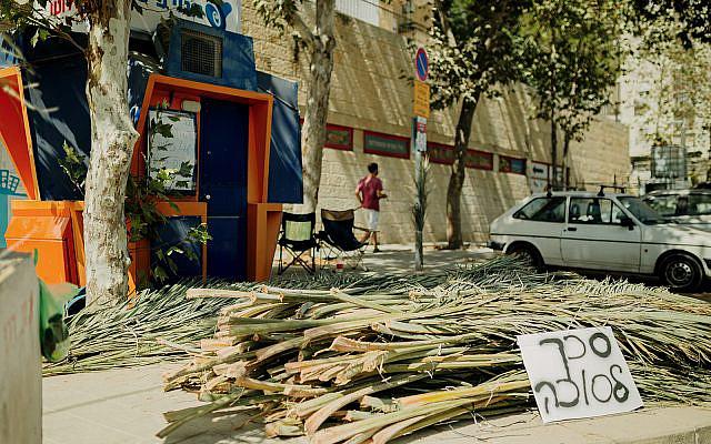 Roofing materials for sukkahs (schach), for sale on a Jerusalem street, September 29, 2020. (Tzipora Lifchitz)