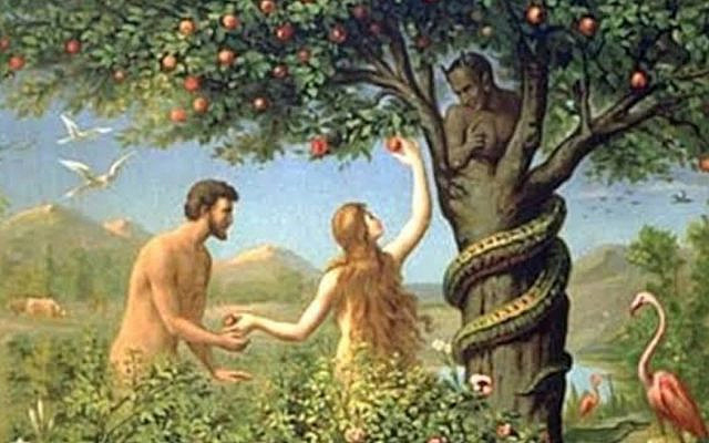 Detail from Original Sin, Adam and Eve in The Garden Of Eden, late c. 19th. (Twitter)