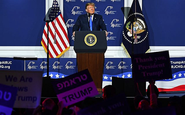 President Donald Trump speaks at the Republican Jewish Coalition's annual leadership meeting at The Venetian Las Vegas, April 6, 2019. (Ethan Miller/Getty Images)
