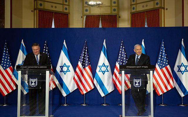 U.S. Secretary of State Mike Pompeo, left, and Israeli Prime Minister Benjamin Netanyahu make a joint statement after meeting in Jerusalem, Thursday, Nov. 19, 2020. Photo by: Maya Alleruzzo, Pool Via JINIPIX
