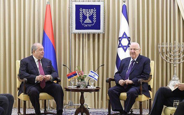 Israeli President Reuven Rivlin with Armenian President Armen Sarkissian in Jerusalem, Jan. 26, 2020. (Credit: AMOS BEN GERSHOM, GPO)