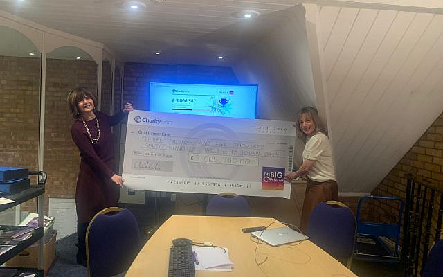 Chairman Louise Hager and Chief Executive Lisa Steele presenting community raised cheque exceeding an outstanding £3M (Jewish News)