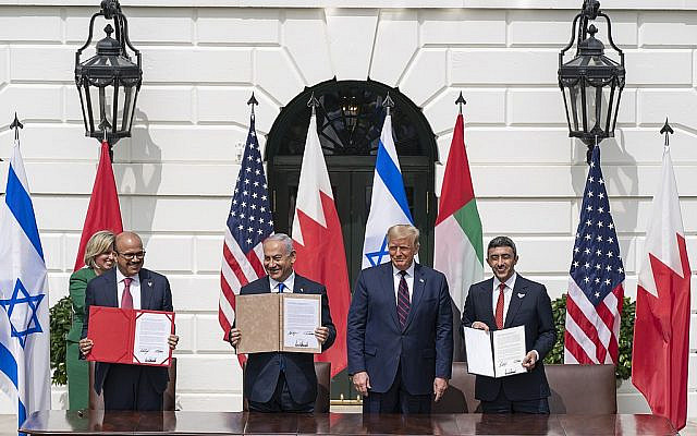 President Trump and The First Lady Participate in an Abraham Accords Signing Ceremony, Washington, DC. (Public Domain, Wikimedia Commons)