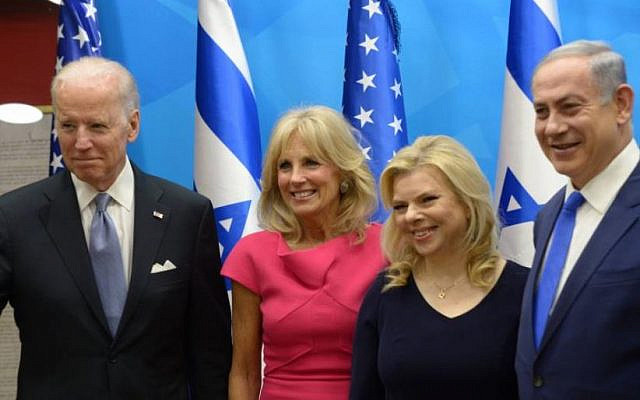 The Bidens and the Netanyahus on one of the Vice President's visit. (Israel Government Press Office)