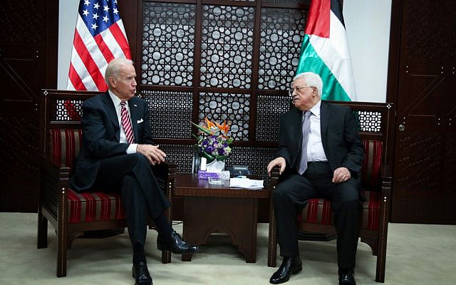 US Vice President Joe Biden (left) with Palestinian Authority President Mahmoud Abbas in the West Bank city of Ramallah, on March 9, 2016. (FLASH90)