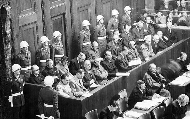 Nuremberg Trials: looking down on the defendants' dock. Ca. 1945-46.