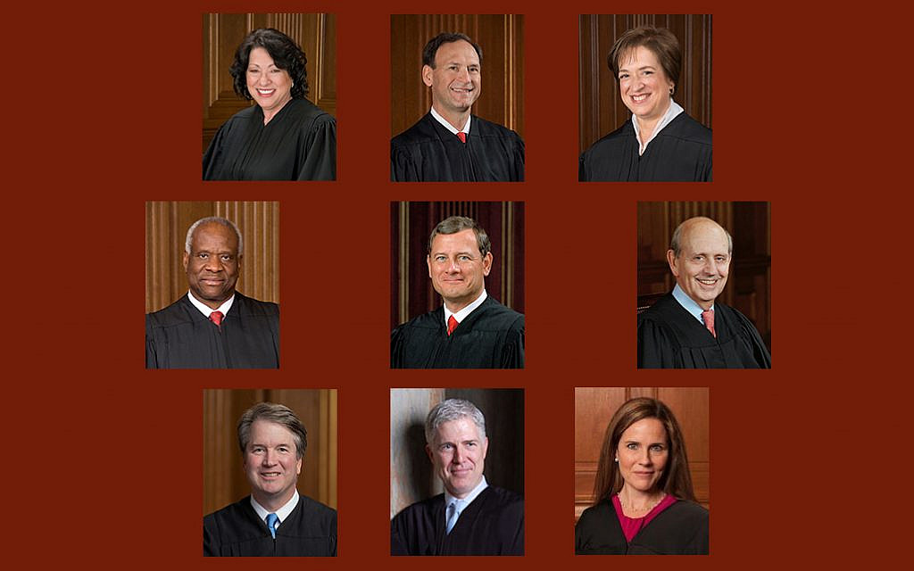 Montage of the current members of the Supreme Court of the United States, including recently sworn-in Justice Amy Coney-Barrett. November 2020. (All photos PD)