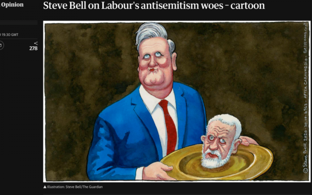 Screenshot from the Guardian's website of Steve Bell's controversial cartoon. (Credit: The Guardian / https://www.theguardian.com/commentisfree/picture/2020/oct/29/steve-bell-labour-antisemitism-starmer-corbyn-cartoon via Jewish News)