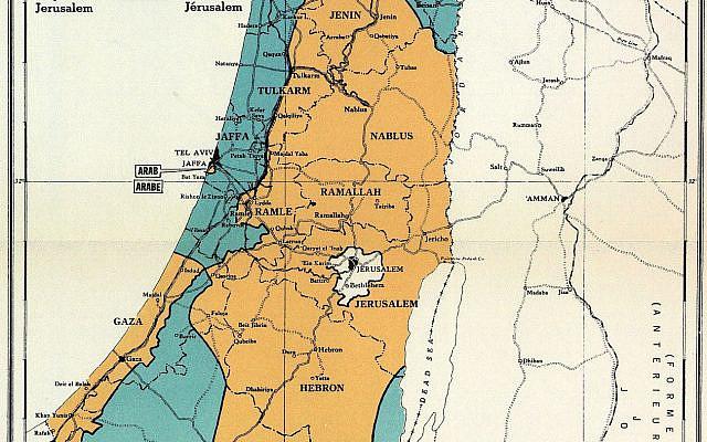 UN Map, 'Palestine plan of partition with economic union' (PD via Wikipedia)