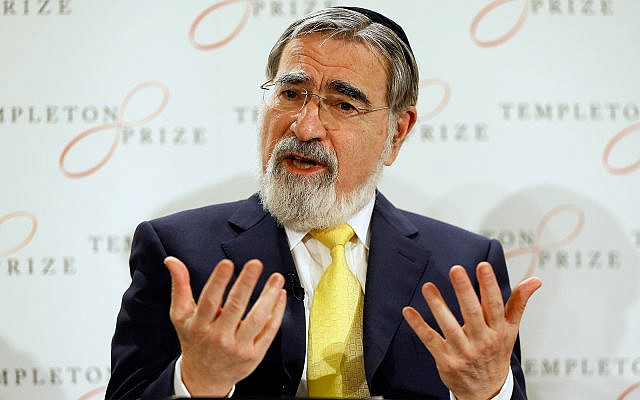 Rabbi Lord Jonathan Sacks speaks at a press conference announcing his winning of the 2016 Templeton Prize, in London, March 2, 2016. (AP Photo/Kirsty Wigglesworth)