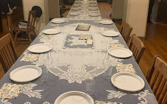 The table in the Wolkenfeld home pre-pandemic, as they prepared to host a large meal, January 2020. (courtesy)