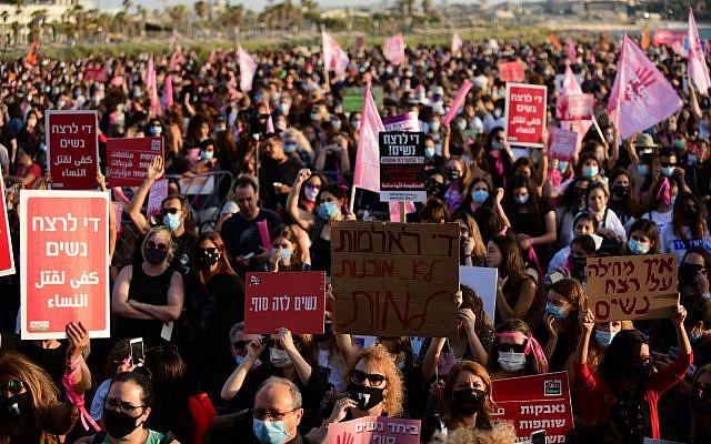 Israelis protest against violence towards women, in Tel Aviv on June 1, 2020. (Tomer Neuberg/Flash90)
